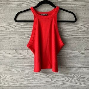 Cotton On Red Halter Ribbed Tank Top